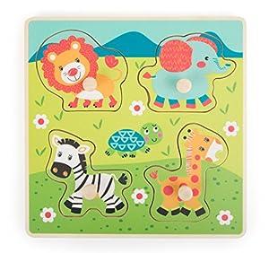 Small Foot 10726Juego Puzzle con Cuatro práctico Hecho de Piezas de Puzzle de Madera en Forma de un Animal, práctico Pad con Motivos de Safari, Trenes la motricidad y Paciencia