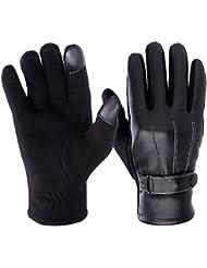 Vbiger Guantes de Pantalla Táctil para Hombres Invierno Moto la PU