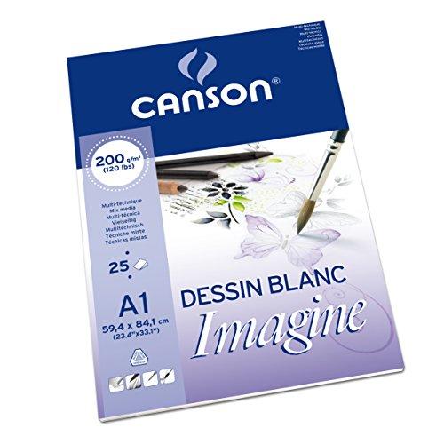 Preisvergleich Produktbild Canson 200005969 Imagine Mix-Media Papier, A1, rein weiß