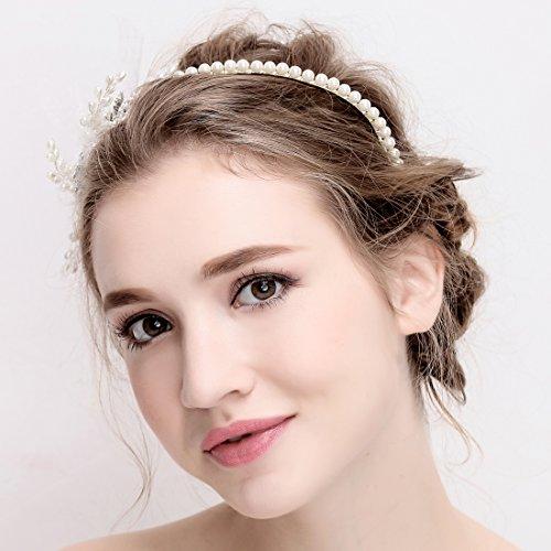 Vintage Elfenbein Tüll Bridal Tiara Strass Perlen Haarreif Hochzeit Prom Haarschmuck - 4