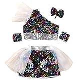 EOZY Kinder Mädchen Glitzer Tanzen Kostüm Tanz Kleidung Set Dancing Kostüm Bunt 110