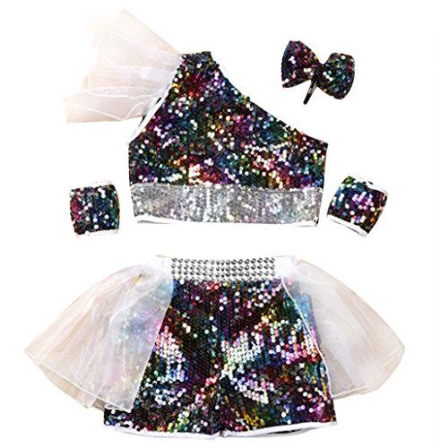 EOZY Kinder Mädchen Glitzer Tanzen Kostüm Tanz Kleidung Set Dancing Kostüm Bunt 110 (Samba Kostüme Für Kinder)