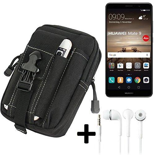 K-S-Trade Gürteltache für Huawei Mate 9 (Dual-SIM) Gürtel Tasche Schutzhülle Handy Schutz Hülle Smartphone Tasche Outdoor Handyhülle schwarz inkl. Extrafächer + Kopfhörer