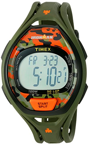 Timex Ironman Sleek 50 Full-Size Watch - Green/Orange Camo