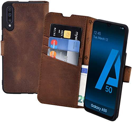 Suncase Book-Style kompatibel mit Samsung Galaxy A50 Hülle (Slim-Fit) Leder Tasche Lederhülle Handytasche Schutzhülle Case (Standfunktion und Kartenfach - Bruchfester Innenschale) in antik Coffee Leder-style-schutzhülle