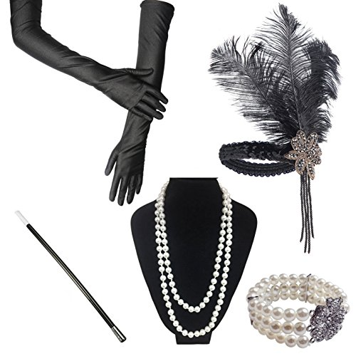 ResPai 1920s Jahre Accessoires Flapper Set Stirnband Perlen Halskette Lange Schwarze Handschuhe Zigarettenspitze Great Gatsby Motto Party Kleider Damen Kostüm Accessoires,5 in 1 ()