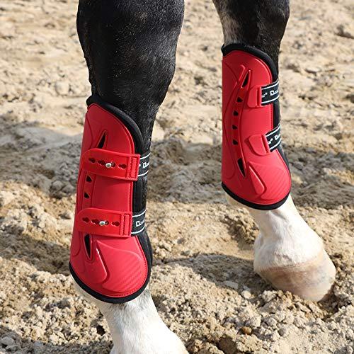 GCSEY Pferdegamaschen Pferdebeinstiefel Equine Hock Boot Pferdeschützer,4Er Set Dressurgamaschen, Versch. Farben Lack Mit Strass Royal Tendon Gamaschen,Rot