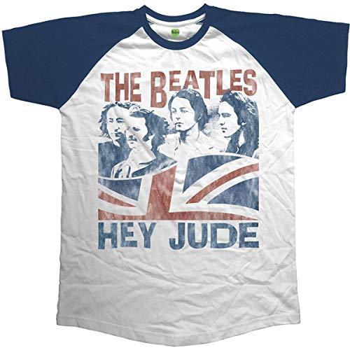 Unknown Herren T-Shirt Hey Jude Windswept Short Sleeve Gr. XL, Blau (Navy Navy) - Beatles Short Sleeve T-shirt