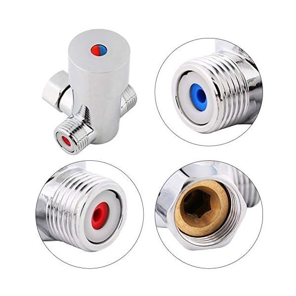 G1/2 Válvula de Mezcla de Agua Fría Caliente Válvula de Control de Temperatura Termostática de 3 Vías del Mezclador para…