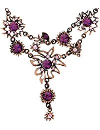 d2b251a97197 Collar Colgante de Color Cobre - Collar Colgante con Piedras de Cristal  Violeta - Collar de