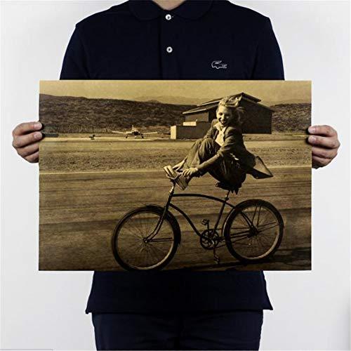 tpapier-Plakat-Weinlese-Fahrrad - Uma Thurman Klassischer Film Weinlese-Retro- Kraftpapier-Plakat-Kern 51,5 * 36 cm 01 ()