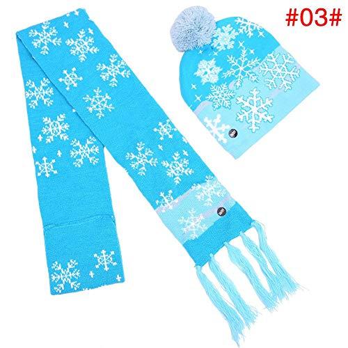 (AIHOME Unisex Weihnachtsmütze und Schal mit LED-Licht, Weihnachten glänzend Leuchtenden Hut und Schal für Jungen Mädchen für Weihnachtsfeier Requisiten)