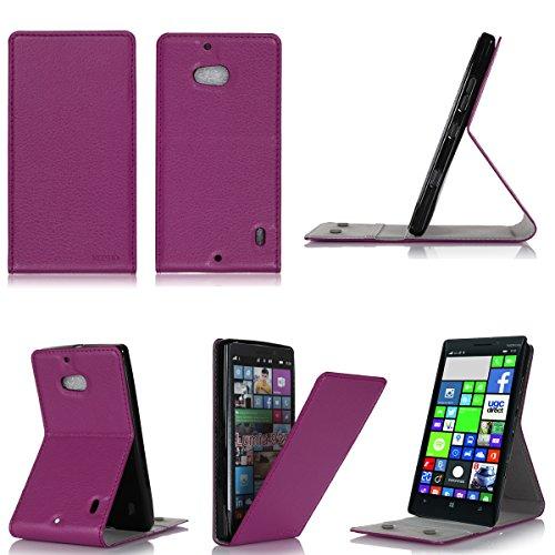 3g Flip Folio (Tasche Leder Style Nokia Lumia 930 Violett lila
