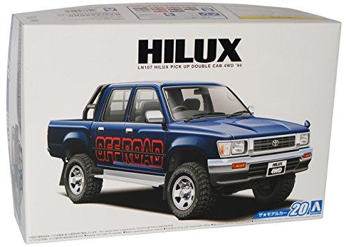 Toyota Hilux Pick-Up Blau 6. Generation 1997-2005 Kit Bausatz 1/24 Aoshima Modell Auto mit individiuellem Wunschkennzeichen