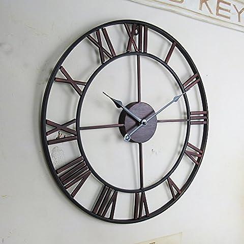 Reloj de pared de europeo número romano creativo reloj pared reloj retro sala de estar-dormitorio manualidades