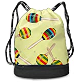 ZKHTO Striped Mexican Maracas Large Drawstring Sport Backpack Sack Bag Sackpack