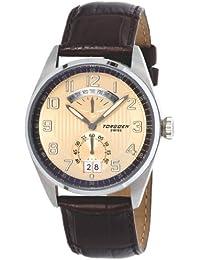 Torgeon T29102 - Reloj analógico de caballero de cuarzo con correa de piel negra