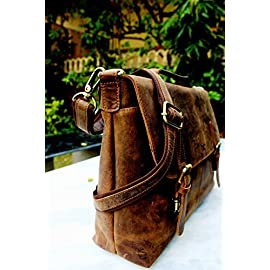Handolederco 16″ Vintage Rustic Buffalo Hide Leather Messenger Satchel Laptop Briefcase Shoulder Bag for Men's and Women