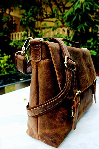 - 51VAJcA9g8L - Handolederco 16″ Vintage Rustic Buffalo Hide Leather Messenger Satchel Laptop Briefcase Shoulder Bag for Men's and Women