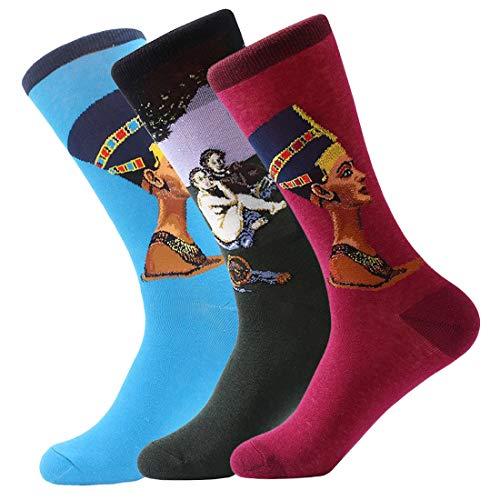 FLYCHEN Uomo 3 Paia Di ottima qualita' di Calzini Multicolor Confezione Fantasia dal Design calzini arte retro pittura Serie Unisex One size EU 37-46 color 5