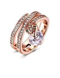 YAZILIND joyas de 18 quilates de oro rosa de la serpiente exquisita con anillo redondo blanco cubic zirconia para el partido de la boda