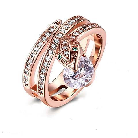 YAZILIND Schmuck 18k Rose vergoldet exquisite Snake mit Runde White Zirkon Rings for Hochzeit Party Größe 18.8