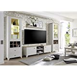 dreams4home wohnwand trojis i set glasvitrinen tv lowboard wandregal - Landhausstil Mobel Wohnzimmer