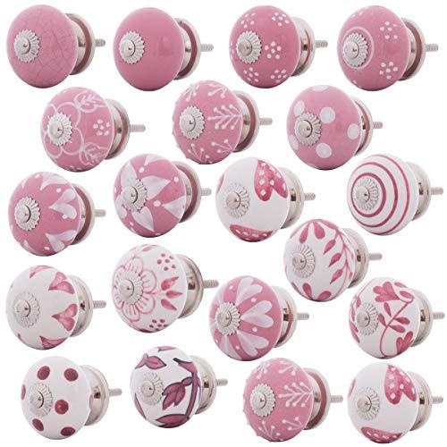 Set Möbelknöpfe Keramik rosa weiss pink 20 Stk. handbemalt Shabby Vintage Knäufe - Keramik-möbelknopf