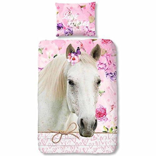 Good Morning Kids,Pferdebettwäsche pink, Kinderbettwäsche Pferde pink, 135 x 200 cm (Bettwäsche Mädchen-sport)
