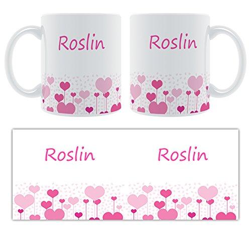 Roslin – Motif cœurs – Femelle Nom personnalisable Mug en céramique