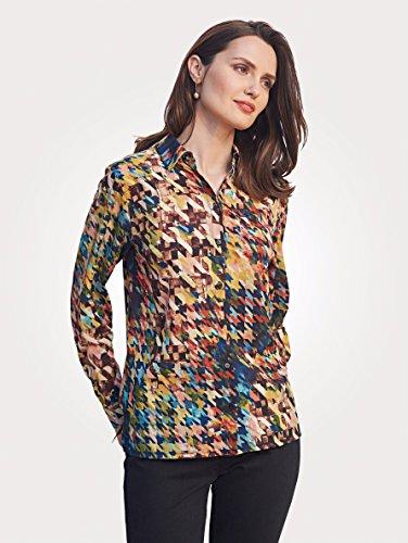 Damen Bluse mit Hahnentrittmuster by MONA beige-petrol-gelb