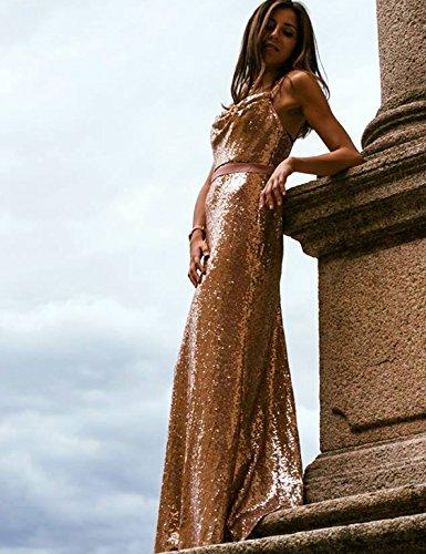 Ever Pretty Lang Pailletten Elegant Partykleid Cocktailkleid Abendkleid 40 Rosa Gold - 3