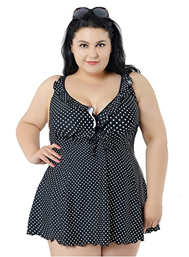 Niseng Mujer Tankini Bañadores Talla Grande Conjuntos De Falda Y Pantalones Cortos Negro 8XL