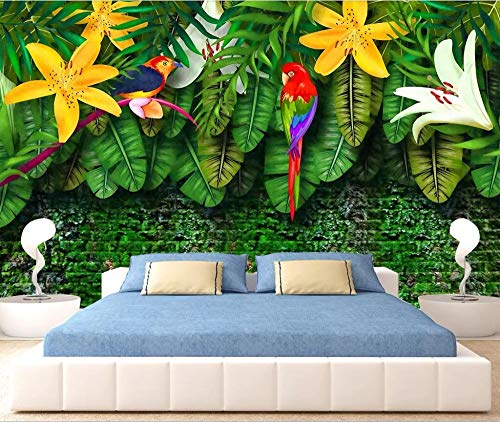 Benutzerdefinierte Tapete Hd Handgemalte Europäische Pastoralen Stil Tropischer Regenwald Fernseher Bedside Background Walls 3D Wallpaper, 150Cm * 105Cm