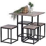 Set tavolo da pranzo ASUUNY, tavolo da pranzo e 4 sedie, Set tavolo da cucina compatto, Set da pranzo 5 pezzi con tavolo da pranzo risparmio di spazio in colore noce con telaio in acciaio nero