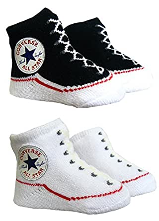 Converse Baby Booties Socks - Black / White