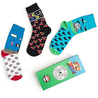 Karikatur-Socken NES 8-BIT komischer Buchstabe! Verrückte Unisexkleid-Socken 3 Paar-Satz! (Size 41/46)