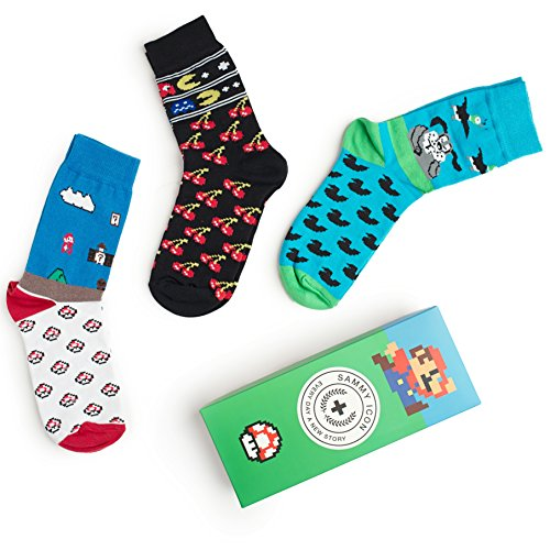 Karikatur-Socken NES 8-BIT komischer Buchstabe! Verrückte Unisexkleid-Socken 3 Paar-Satz! (Size 36/40)
