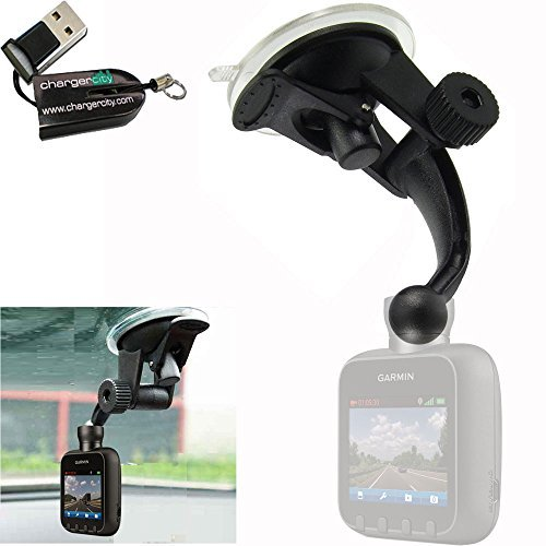 ChargerCity Exclusive Stick-On Articulate Sticky Windshield Dashboard Suction Sat Nav Mount for Garmin Dash Cam 10 20 35 & nuviCam sm-n900v GPS (Include Free Micro SD Memory Card Reader)