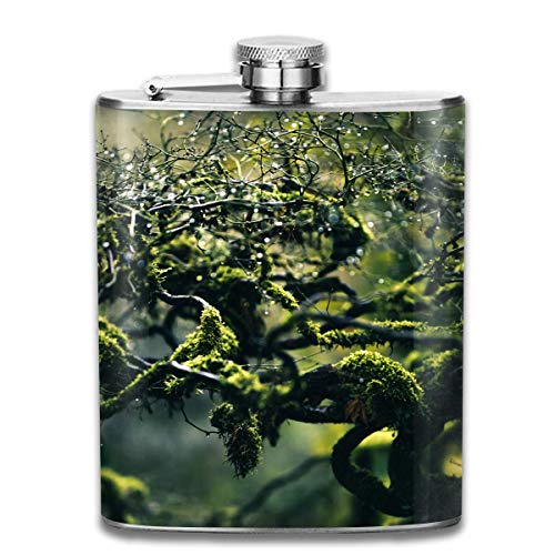Green Algae Moss Branches Drops Fashion Portable 304 Stainless Steel Leak-Proof Alcohol Whiskey Liquor Wine 7OZ Pot Hip Flask Travel Camping Flagon for Man Woman Flask Great Little Gift -