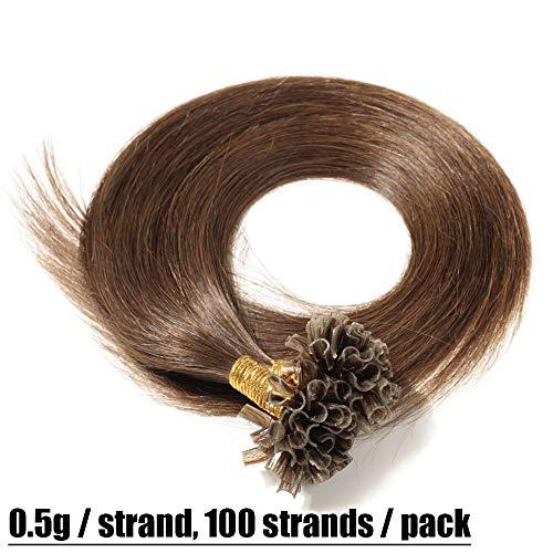 Extensions Echthaar Bondings Haarverlängerung U-Tip 100 Strähnen per Echthaarsträhne 0,5g 50cm(#4 Schokobraun)