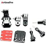#10: Action Pro Front Helmet Mount For Gopro 5 3 4 Session Yi 4K Sjcam Sj5000X Action Camera Accessories Kit Curved Sticker J-Hook Bracket