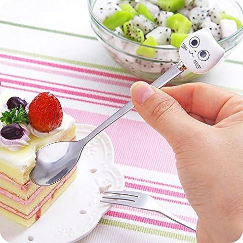 Midmade Cute Cartoon Cat Stainless Steel Handle Children Fruit Fork / Coffee Spoon Tea Spoon Dessert Spoon Set of