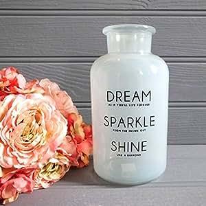 'Dream, éclat Brillance' Script Style vintage Vase bouteille en verre Blanc opaque