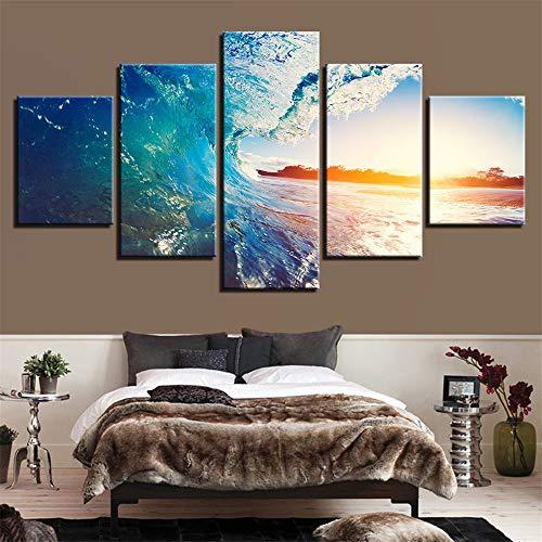 Moderne dekorative malerei Hause Sofa Wand Wohnzimmer HD Kunst Painting,Seascape Dämmerungslandschaft 5 Malerkern 10x15cmx2 10x20cmx2 10x25cmx1