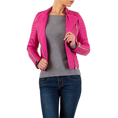 Lederoptik Biker Jacke Für Damen , Pink In Gr. 38 bei Ital-Design