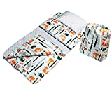 BabyBoom Schlafsack für Kleinkinder, Krippe, Kindergarten, Zuhause, Bettwäsche für Kinderbett -MINKY +100% Baumwolle -Gr. 60x120 cm +Kissen 40x35 cm inkl. Tasche, made in EU (Füchse - Minky hellgrau)