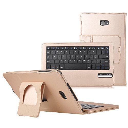 iBetter Samsung Galaxy Tab A 10.1 Bluetooth Tastatur Hülle Keyboard Case [QWERTZ Tastatur]- tastatur Hülle Ultradünn leicht SmartShell Ständer Schutzhülle mit magnetisch abnehmbar drahtloser Bluetooth Tastatur für Samsung Galaxy Tab A 10.1 T580N/T585N 2016 Tablet(Gold)