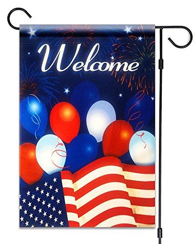 51Gruppen American Flagge mit Luftballons Welcome Garden Flagge Fahne Deko 30,5x 45,7cm Patriotische 100% Alle Wetter Polyester Kleine Größe Banner
