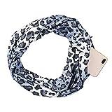 Schal,Sasstaids Damenmode Leopard Winter Thermal Active Infinity Schal mit Reißverschlusstasche